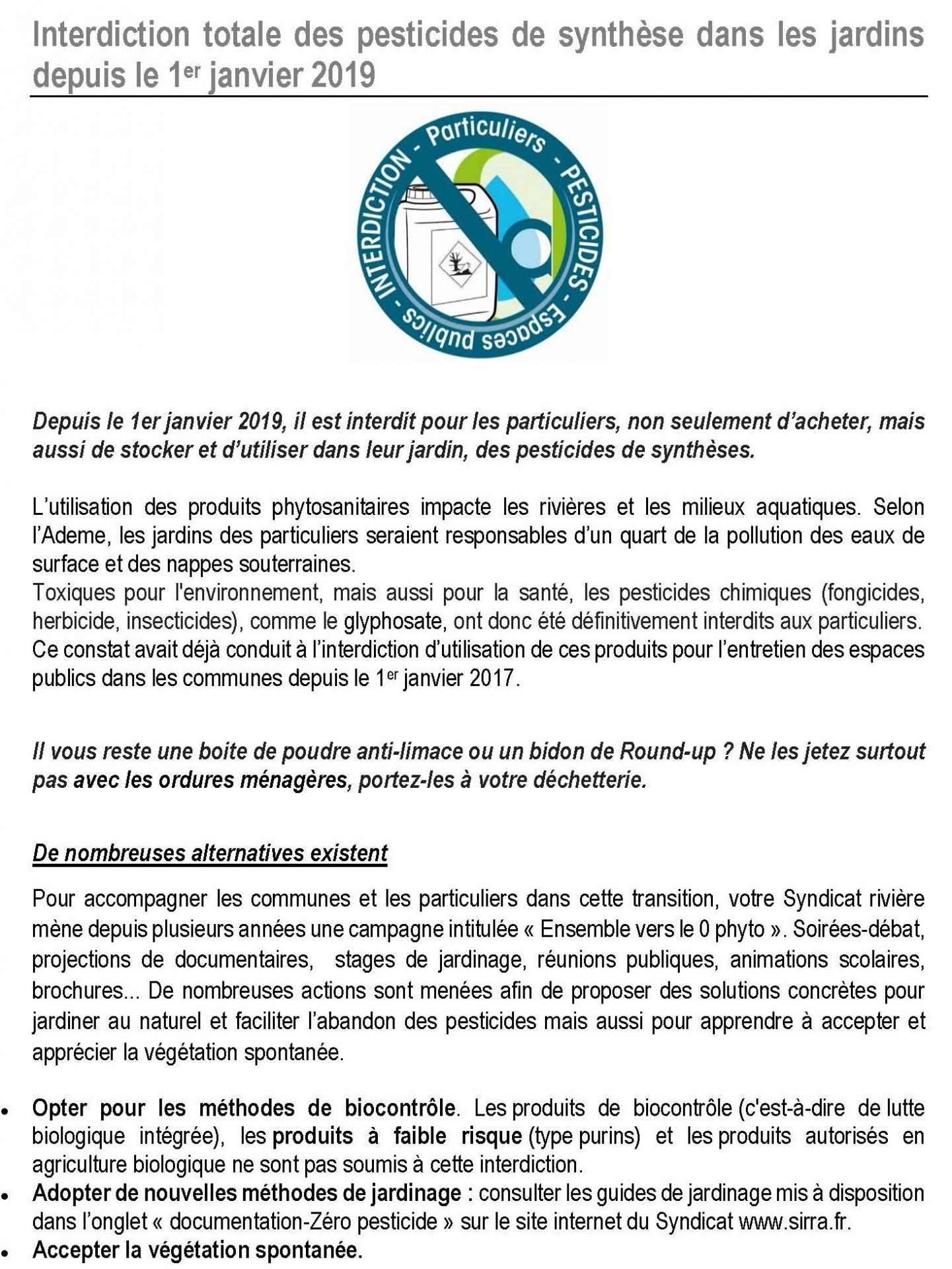 Interdiction totale des pesticides de synthese dans les jardins depuis le 1er janvier 2019